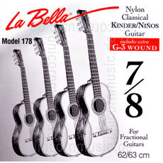 Large view Children's- Classical Guitar Strings Set 7/8 - LA BELLA 178 - normal Tension